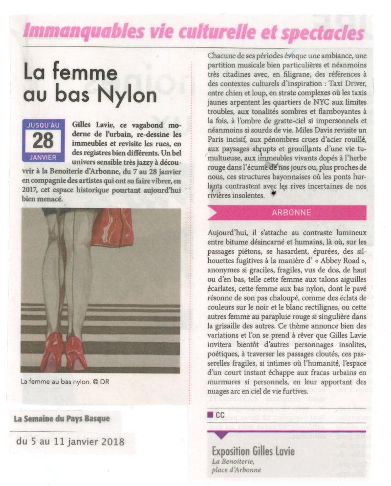Article de la Semaine du Pays Basque : Gilles Lavie expose à Arbonne