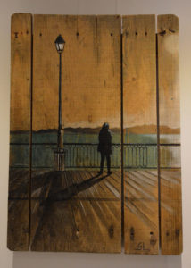 Peinture sur palette, silhouette, par Gilles Lavie