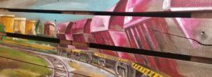 Peinture sur bois d'un train de marchandise