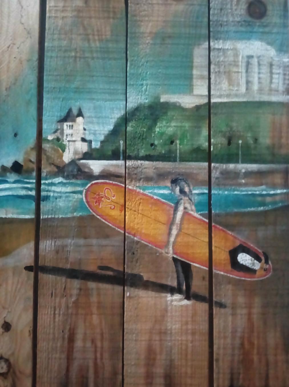 Surfeuse à Biarritz (Gilles Lavie, peintre)