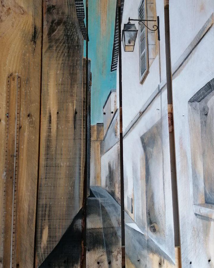 Peinture de rue de Bayonne sur palette par Gilles Lavie