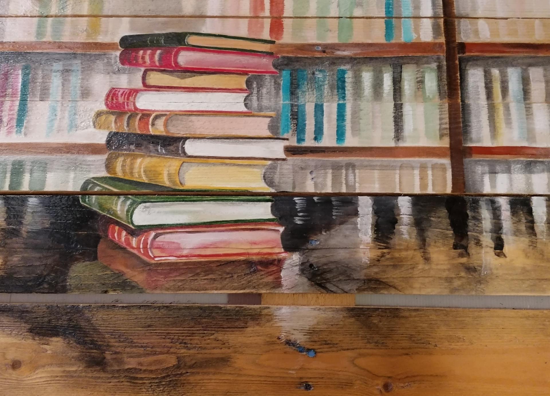 Palette peinte par Gilles Lavie : pile de livres devant une bibliothèque