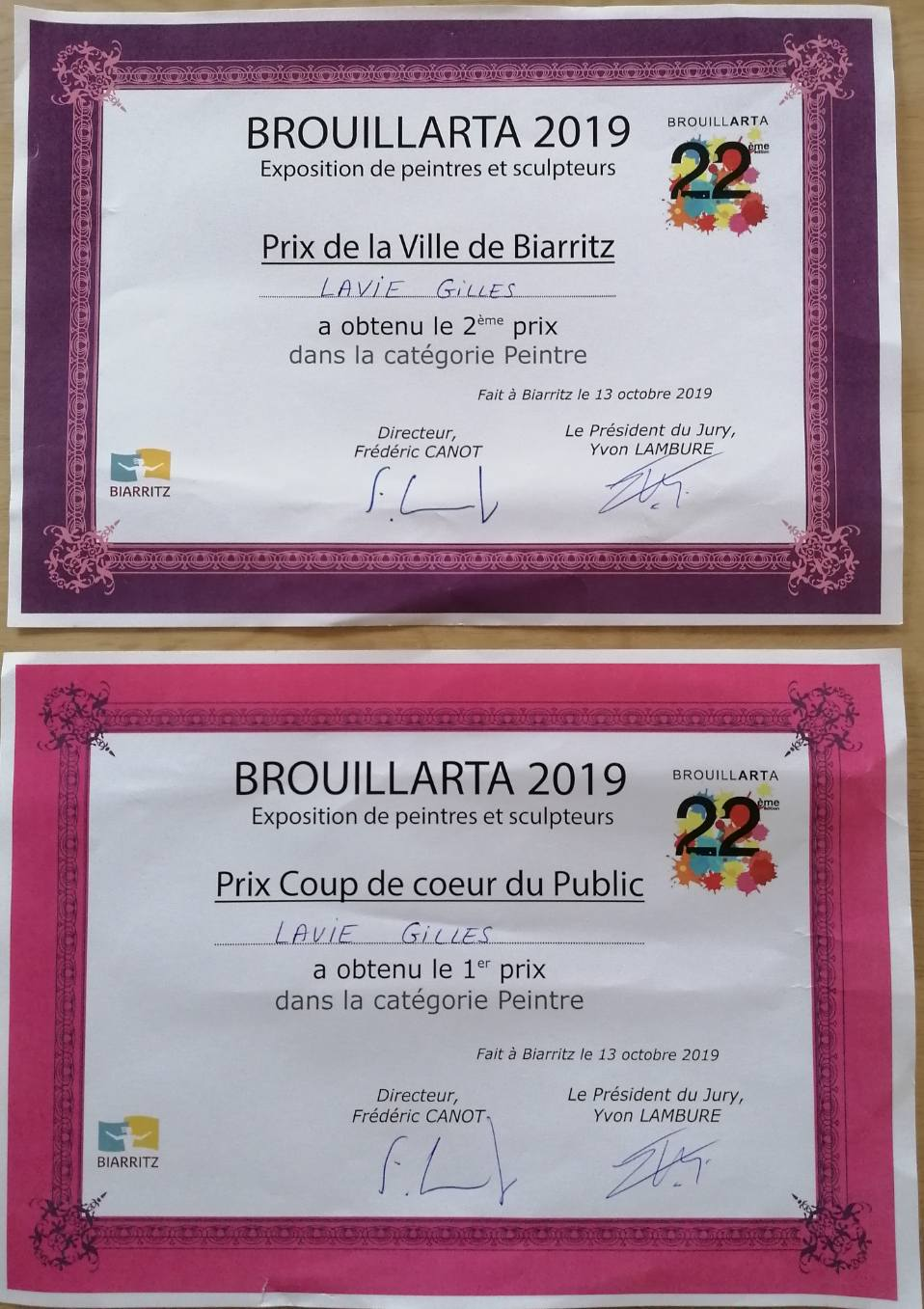 Récompenses reçues par Gilles Lavie pour l'exposition Brouillarta 2019 à Biarritz