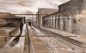 Vue perspective d'un quai de gare - peinture sur palette