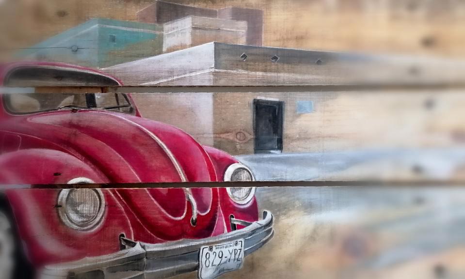 Coccinelle Rouge peinte sur palette en bois