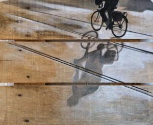 ombre de cycliste peinture sur palette par Gilles Lavie