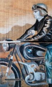 détail de motard peint