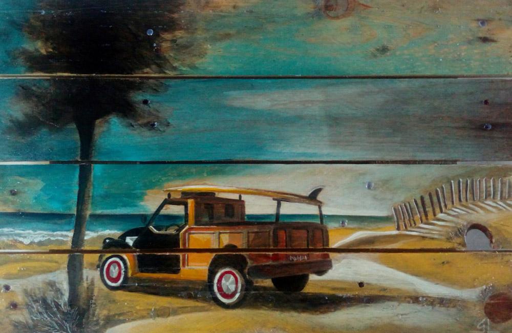 Jeep de surfeur par Gilles Lavie, artiste peintre