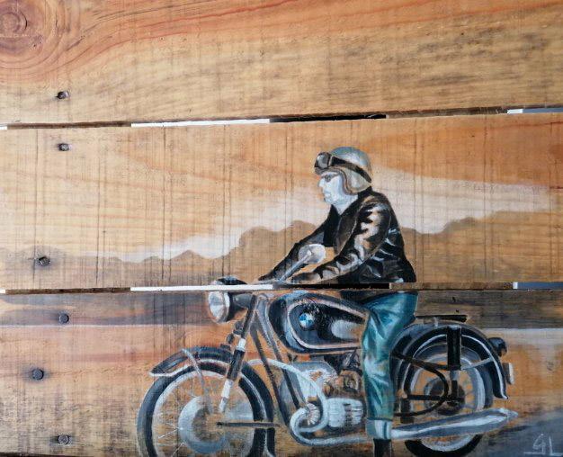 Peinture d'un motard par Gilles Lavie