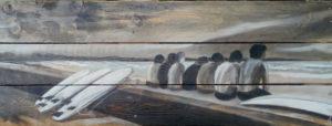 Palette peinte par Gilles Lavie - surfeurs assis face à la mer