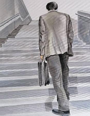Peinture sur palette par Gilles Lavie - homme qui monte un escalier
