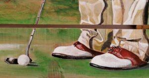 peinture de golfeur sur palette par Gilles Lavie Artiste