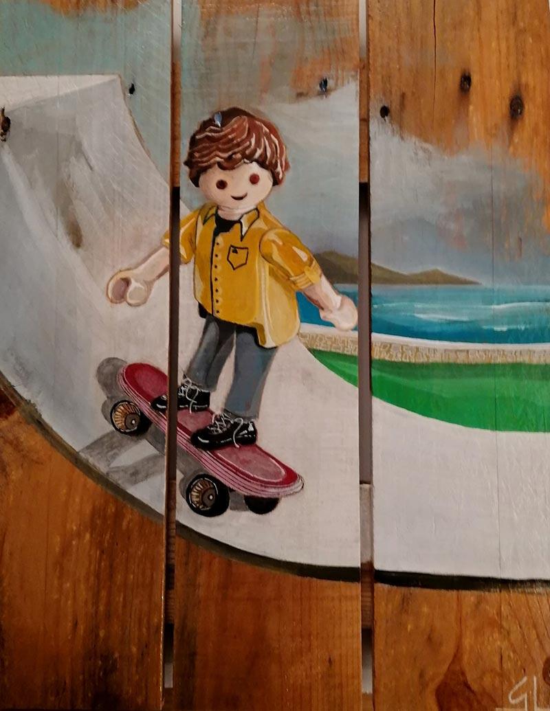playmobil peinture sur palette par Gilles Lavie