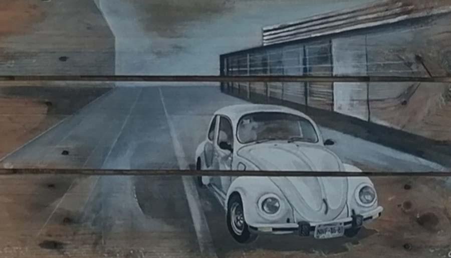 tableau sur palette de Gilles Lavie - Coccinelle blanche