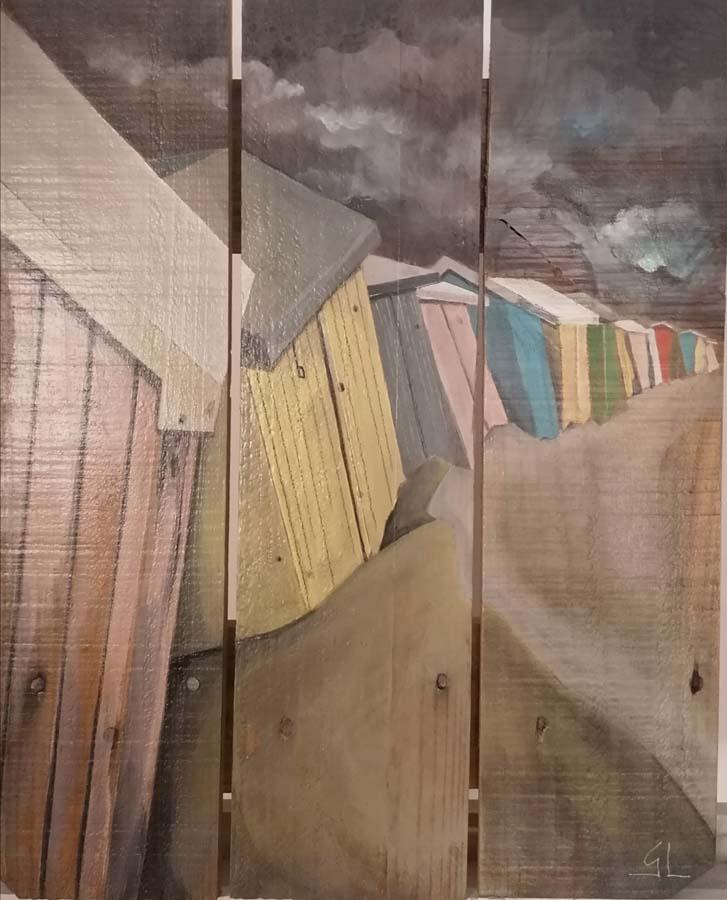 tableau sur palette de Gilles Lavie - Farandole de barraques