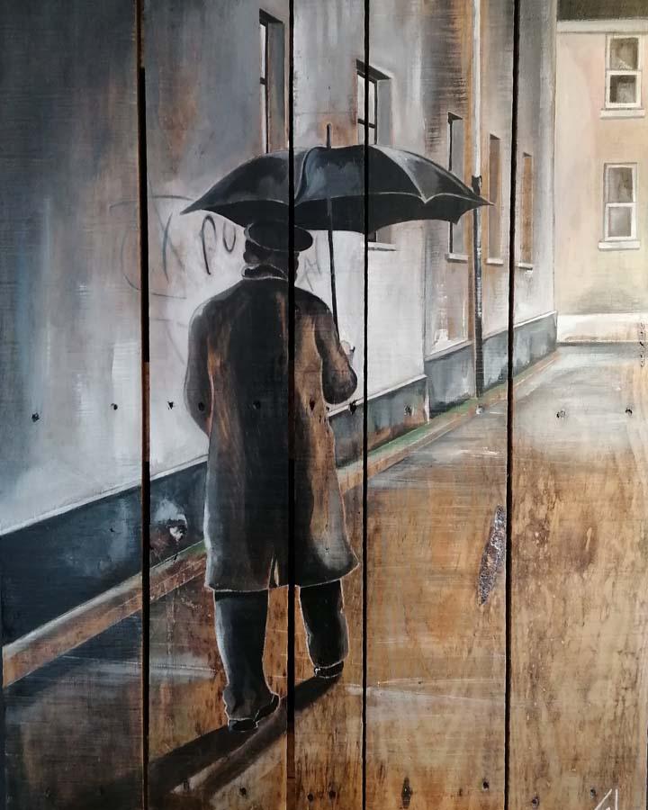 tableau sur palette de Gilles Lavie - L'homme au parapluie