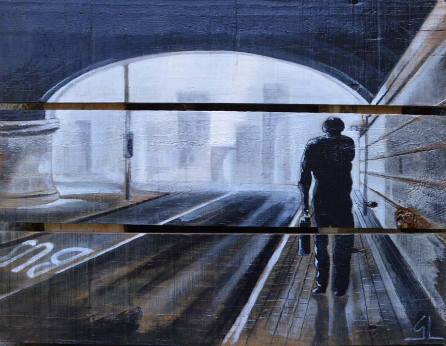 tableau sur palette de Gilles Lavie - L'homme pressé