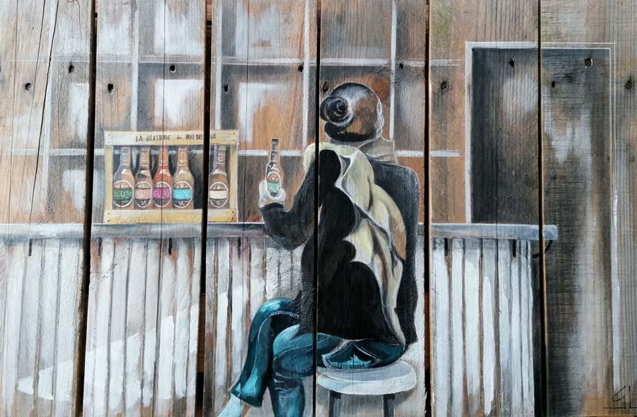 tableau sur palette de Gilles Lavie - la fille au comptoir