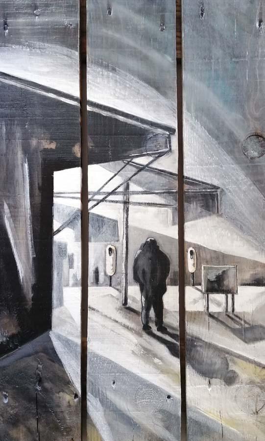 tableau sur palette de Gilles Lavie - le marché série Urbaines