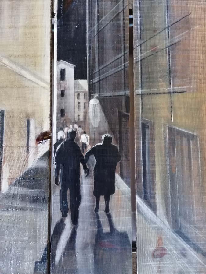 tableau sur palette de Gilles Lavie - Les vieux série Urbaines