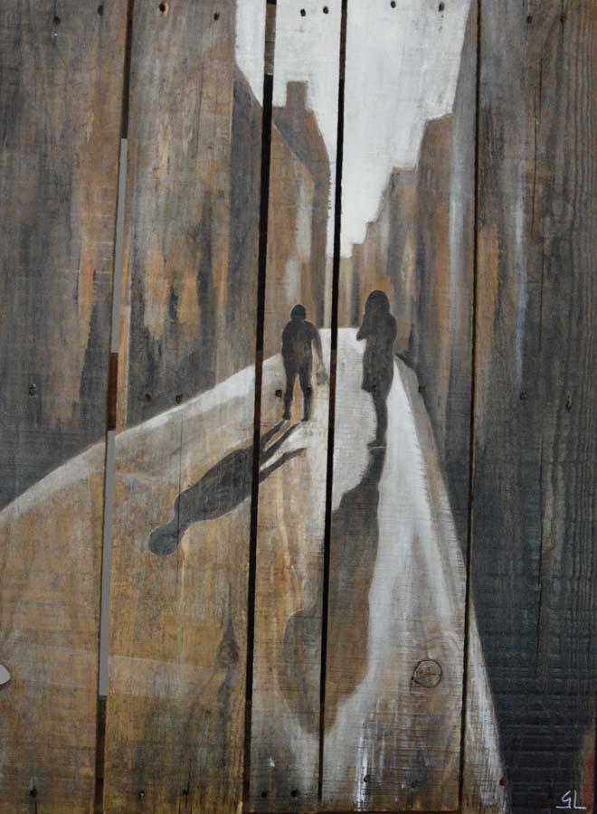 tableau sur palette de Gilles Lavie - scène de rue dans Bordeaux