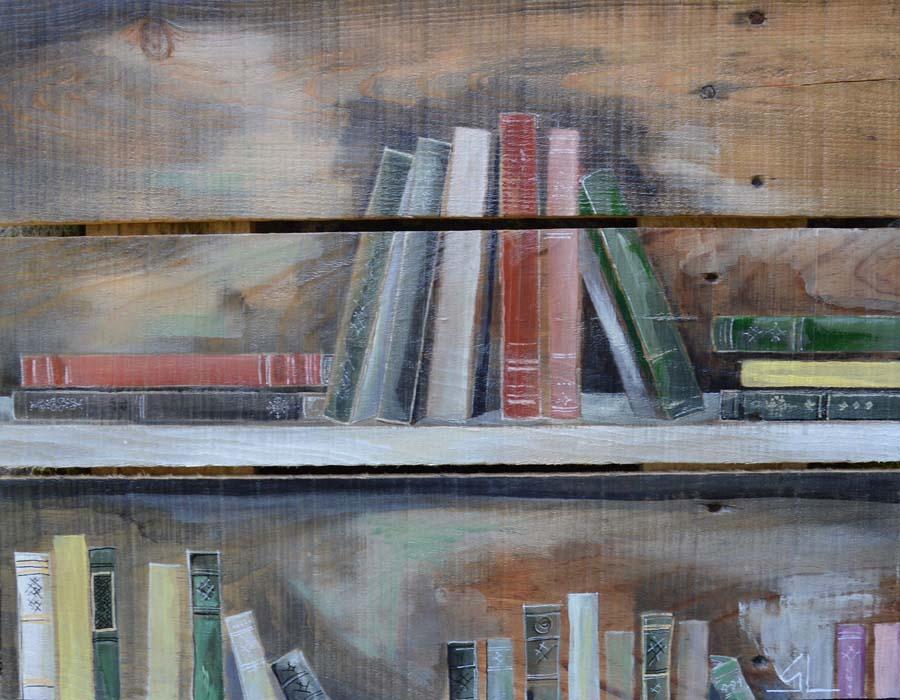 tableau sur palette de Gilles Lavie - bibliothèque