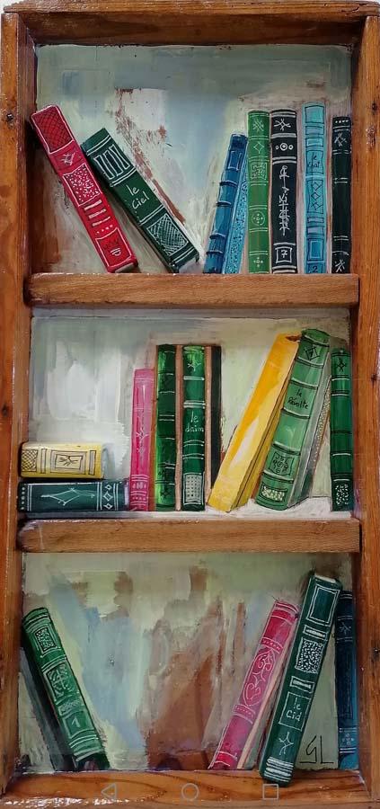 Peinture bibliothèque sur support bois ancien plateau Gilles Lavie