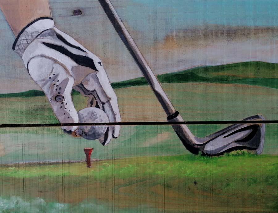 palette peinte golfeur Gilles Lavie