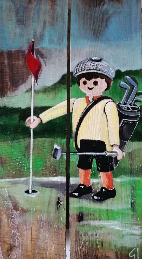palette peinte golfeur playmobil Gilles Lavie