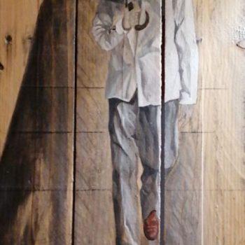 Homme au parapluie - peinture sur palette en bois