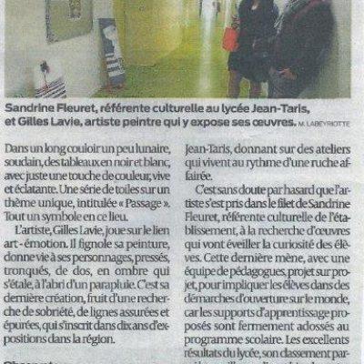 Article sur l'exposition des oeuvres de Gilles Lavie dans les couloirs du lycée de Peyrehorade