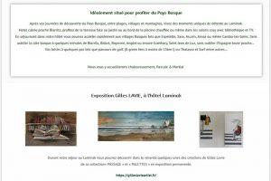 Affiche de l'Expo permanente des oeuvres de Gilles Lavie à l'hôtel Laminak de Arbonne