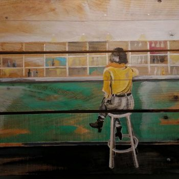 tableau sur palette de Gilles Lavie - La femme au bar
