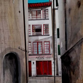tableau sur palette de Gilles Lavie - Rues de Bayonnes